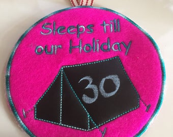 Holiday camping chalkboard countdown with tent design. Sleeps until countdown
