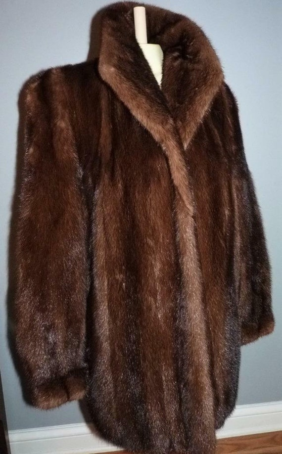 Perry Ellis brown mink fur  coat Large