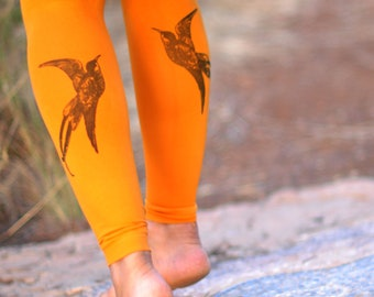Women Clothing -Bird Print Clothing -Tights .Wedding tights,Birthday gifts,gift for her- Dance- available in footless - Swallow