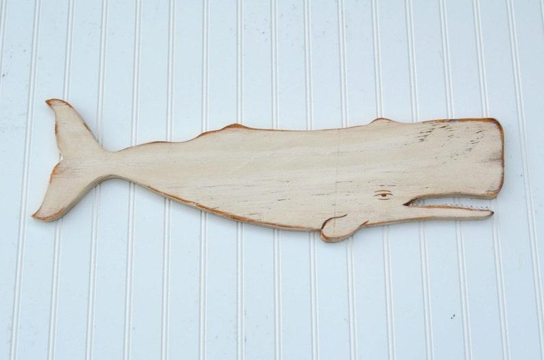 "Wood Whale Wall Plaque 36/"" Weathered White Nautical Beach Decor USA Made"