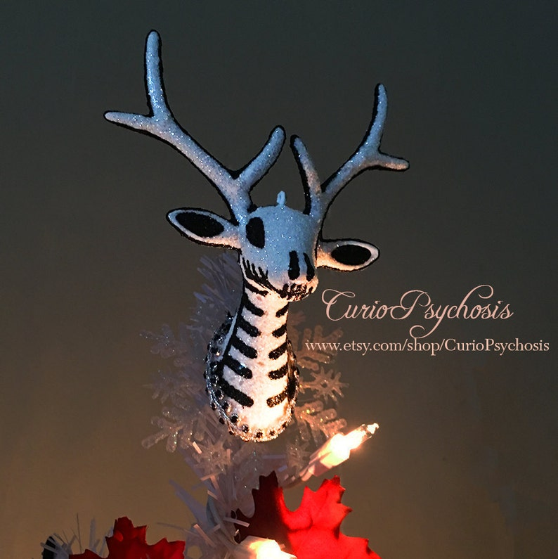 Nightmare Before Christmas Tree Topper For Mini Table Top Tree Tim Burton Hand Painted Reindeer Nightmare Before Christmas Decor White Stag