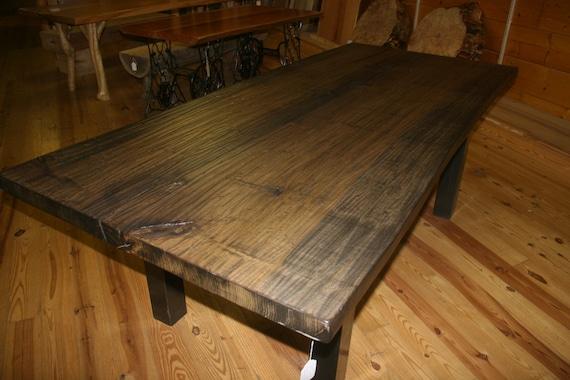 Handscraped Poplar Wood Slab Live Edge Dining Table W/