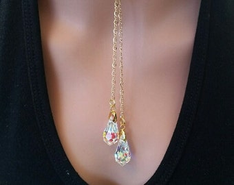 Necklace Lariat Swarovski Crystal AB Drop Necklace Gold