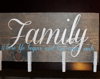Family, Where life begins and love never ends picture holder