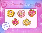 Sailor Moon Twitch Sub Badges Bit Badges Emote - Compact Collection Kawaii Streamer
