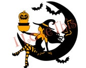 Halloween Pyrex Pinup Witch on Moon vinyl decal