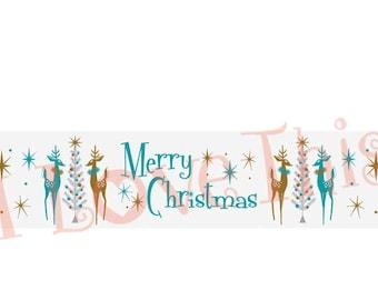 Mid-Century Merry Christmas Deer vinyl decal