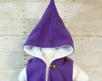 SALE - Purple and White Fleece Pixie Hooded Vest - Size 6 years - Ready to Ship