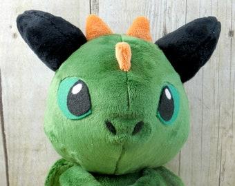 Green Minky Sitting Dragon Plush