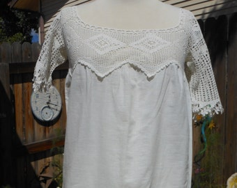 Victorian 1900s White Crocheted Lace Scoop Neck Above the Knee White Cotton Dress, Sundress, Frock or Smock