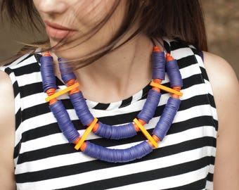 Two layered necklace, Purple necklace with orange accents, Contemporary necklace, Conceptual jewelry