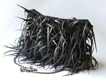 Shaaggy bag, Black rubber bag, Small bag, Crossbody bag