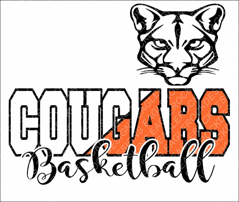 Cougar Basketball Svg Dxf Eps Digital Cut File For Cameo And Etsy