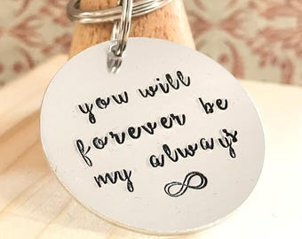 Keyring Infinity Love Token for Boyfriend Gift Girlfriend Gift Valentines Gift For Him For Her Hand Stamped Anniversary Gift
