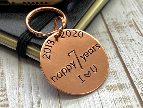 7th Anniversary Copper Key Ring Hand Stamped 2013-2020 7 happy years for Him For Her Birthdays Wedding Anniversary