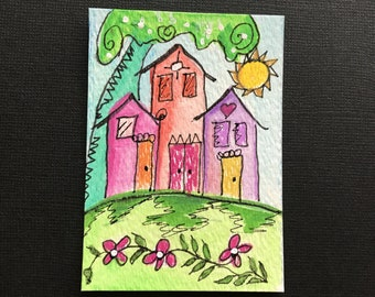 ACEO Three Houses with Heart