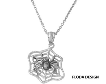 Black Widow Spider Necklace in Sterling Silver, Spider Web Jewelry, Black Widow Jewelry, Halloween Necklace FD-HL