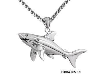 Great White Shark 3D Large Pendant Necklace in Sterling Silver, Shark Jewelry FD-4-17