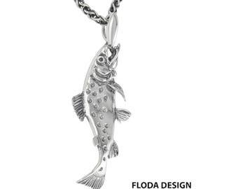 Atlantic Salmon 3D Slide Pendant Necklace in Sterling Silver, Salmon Jewelry, Fish Jewelry FD-4-10
