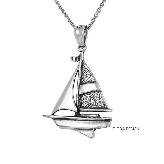 Einzigartige 18k Gold Segelboot Halskette für Frauen Solide 925 Silber Schmuck