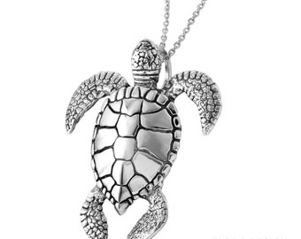 Sea Turtle Necklace in Sterling Silver, Turtle Love Jewelry, Nautical Jewelry, Turtle Jewelry.  FD-21-8