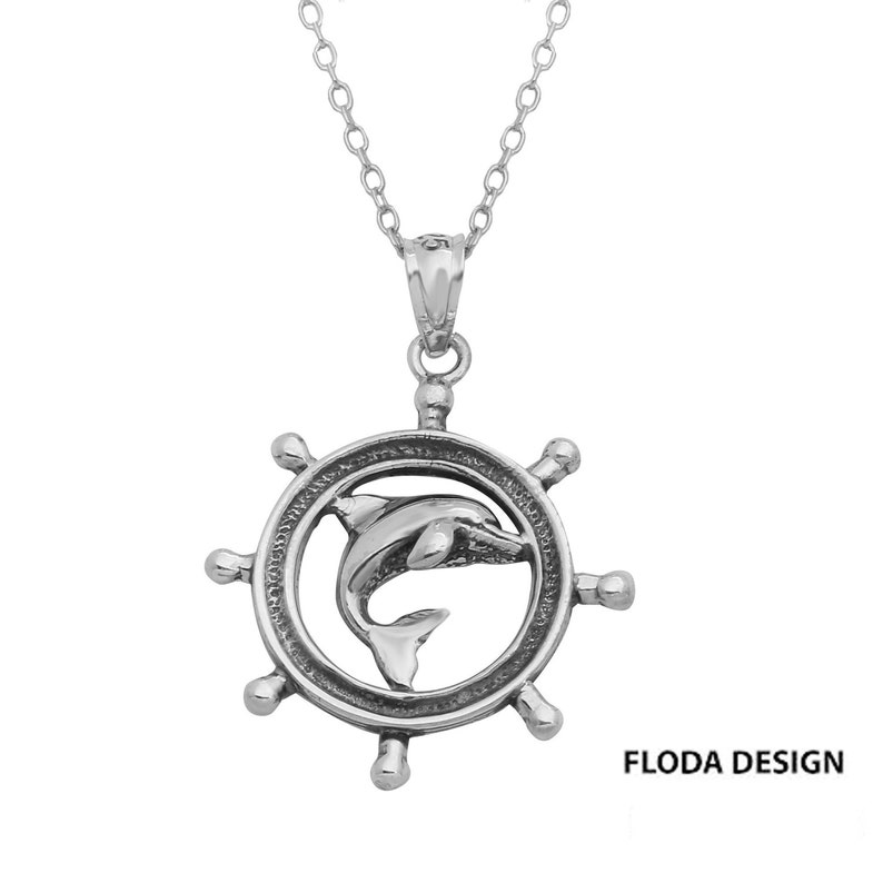 Sterling Silver Ship Wheel w// Seahorse Pendant Made in USA 18 Italian Box Chain