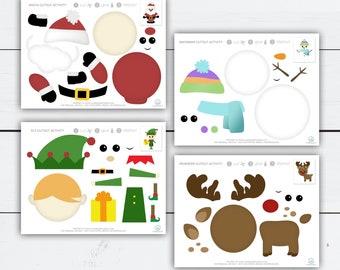 Christmas Activities for Kids, Christmas Cutouts, Holiday Activities for Kids, Paper Crafts Christmas, Printable Activities, Crafts for Kids