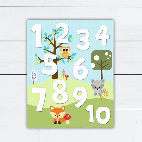 Numbers Print Numbers Printable Numbers Nursery Nursery Print Woodland Number Print Woodland Number Poster Numbers Nursery Art By La Design Boutique Catch My Party