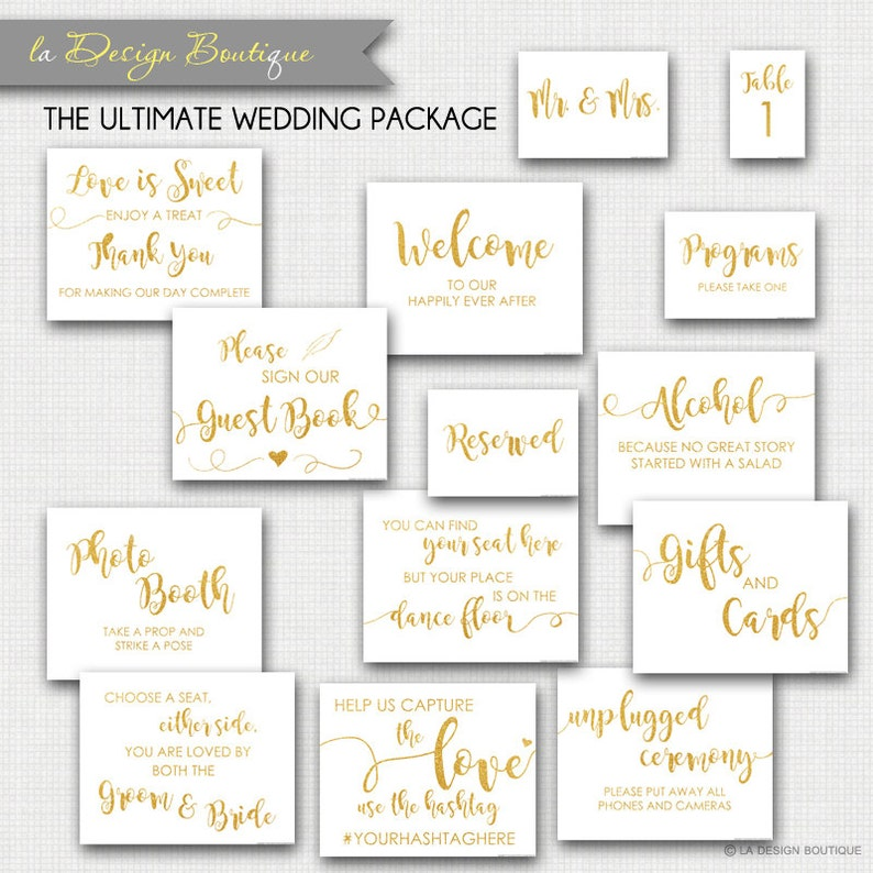 Wedding Signs Package Gold Calligraphy Print Art Glitter image 0