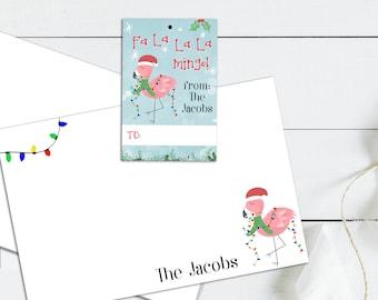 Flamingo Christmas Cards, Personalized Flamingo, Flamingo Gifts, Personalized Holiday Cards, Personalized Christmas Tags, Flamingo, Stocking