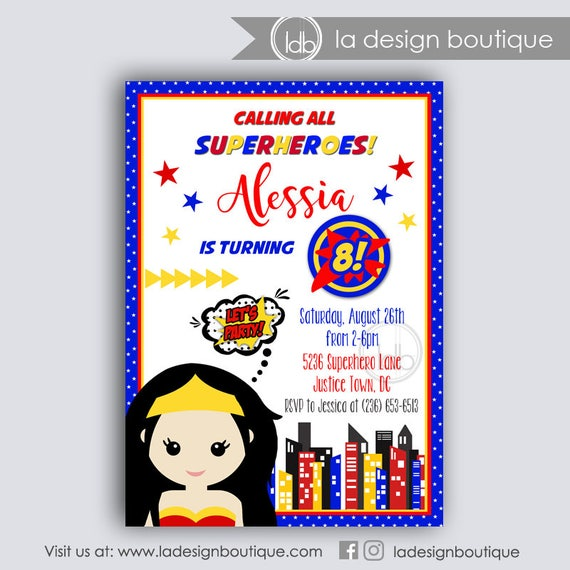Superhero Girl Invitation Superhero Invitation Superhero Girl