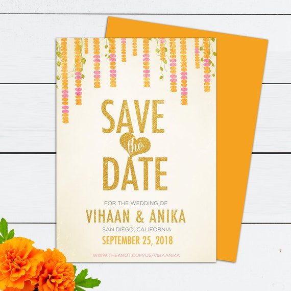 Indian Wedding Indian Wedding Invitation Indian Wedding Cards Indian Save The Date Marigold Flowers Save The Date Save The Date Cards