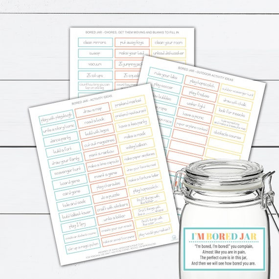 Bored Jar Bored In The House Bored Games Boredom Buster Boredom Box Boredom Kit Kids Activities Scavenger Hunt Ideas For Kids By La Design Boutique Catch My Party