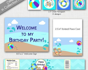 Beach Party Printable, Beach Party Invitation, Beach Party Signs, Beach Birthday, Pool Party Decor, Birthday Pool Party, Summer Party,