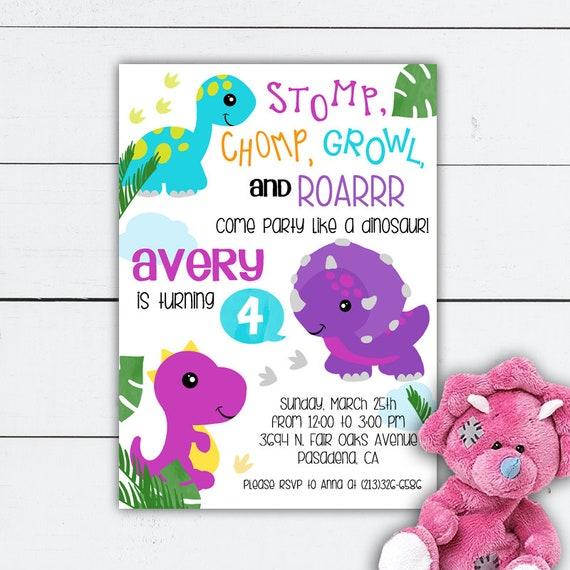 Dinosaur Birthday Girl Invitation