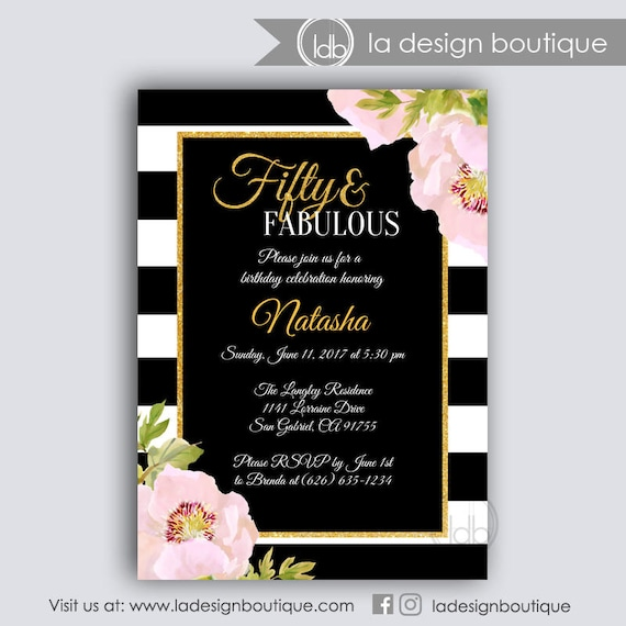 50 Abd Fabulou: 50 And Fabulous Birthday Invitation 50 And Fabulous