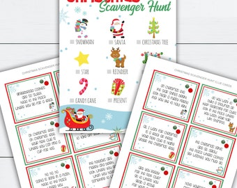 Holiday Scavenger Hunt, Holiday Scavenger Hunt Clues, Holiday Scavenger Hunt Printable, Christmas Activities, Christmas Activity Printable