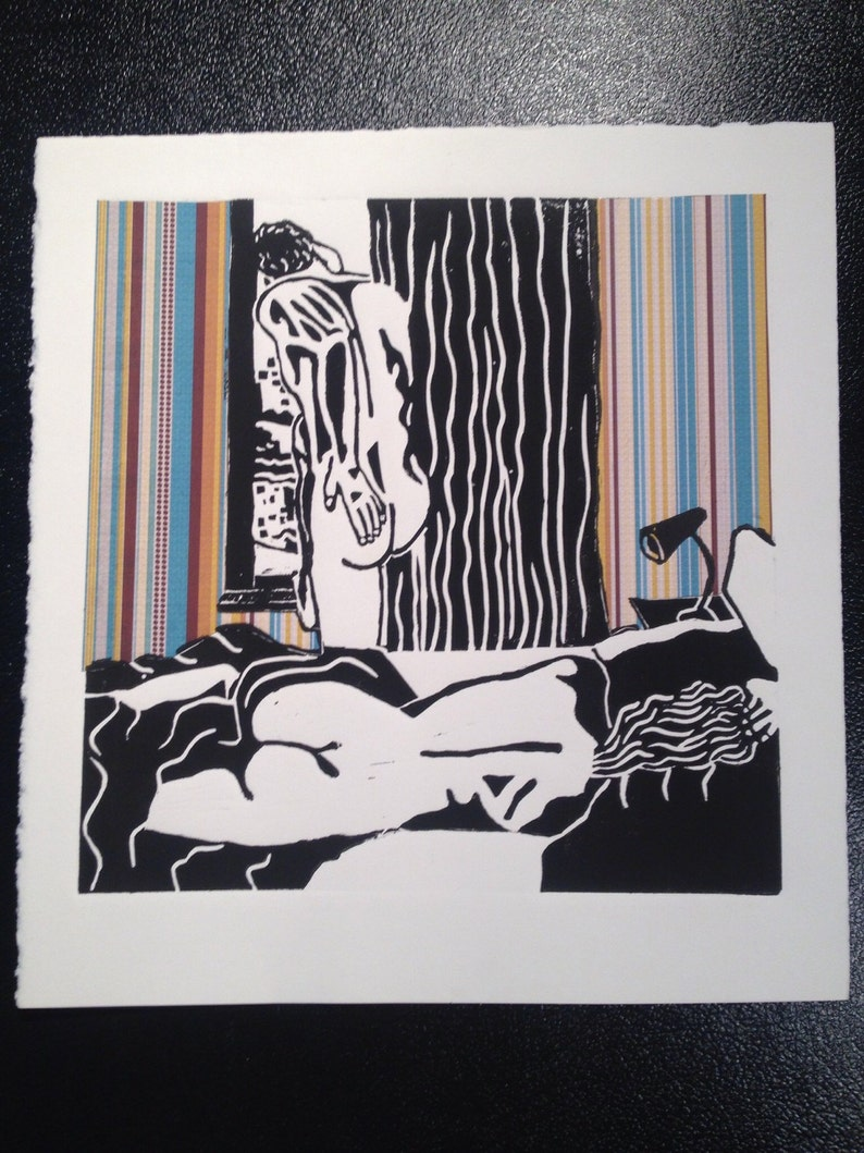 Entitled /'The phone call/' Original print by Jeht Burgoyne. Linocut print hand colored with chine-colle