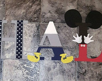 Personalized Kids Name Mickey mouse with Gray and Navy blues