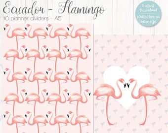 10 Flamingo A5 Planner Dividers - Flamingo A5 Size Planner Printable Inserts - Filofax A5 or Kikki K Large - turquoise blue - pink
