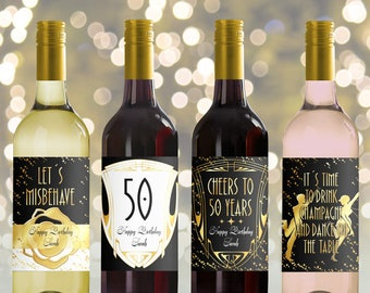 Editable Wine Bottle Labels for 50th Birthday (printable), Custom roaring 20, Great Gatsby Bottle Labels, Personalized Mini Wine bottle
