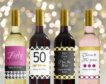 Editable Wine Bottle Labels for 50th Birthday (printable), Custom Black gold burgundy Bottle Labels, Personalized Mini Wine bottle, 3 sizes