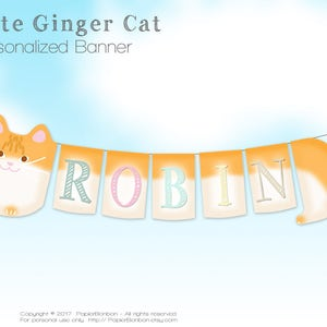 children name banner cat birthday Personalized Ginger cat banner Birthday decor Cat party name banner baby shower name banner PDF files