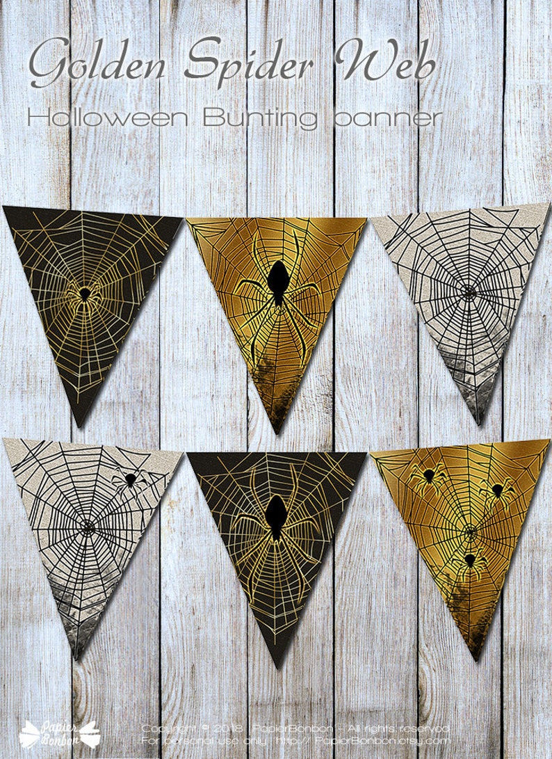 Halloween garland with spiders and webs printable halloween image 0