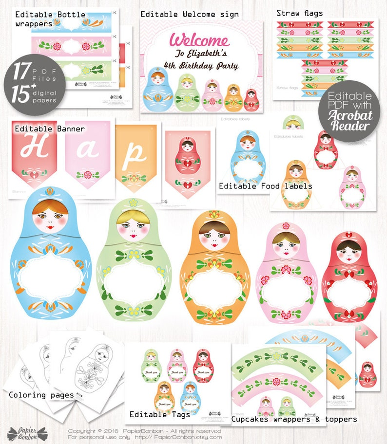 Matryoshka party decor printable 18 EDITABLE Nesting dolls image 0