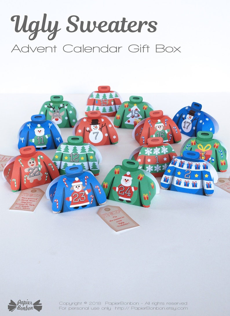 Ugly Christmas Sweater Advent Calendar 24 DIY printable funny image 0