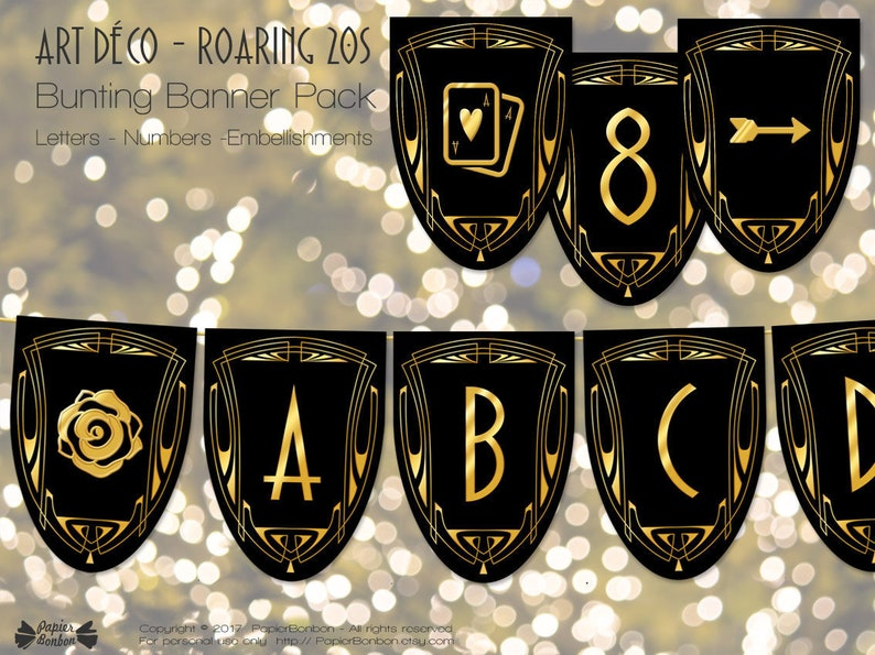 Gatsby banner 1920 letters numbers bunting banner printable image 0