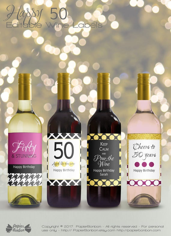 Editable Wine Bottle Labels For 50th Birthday Printable