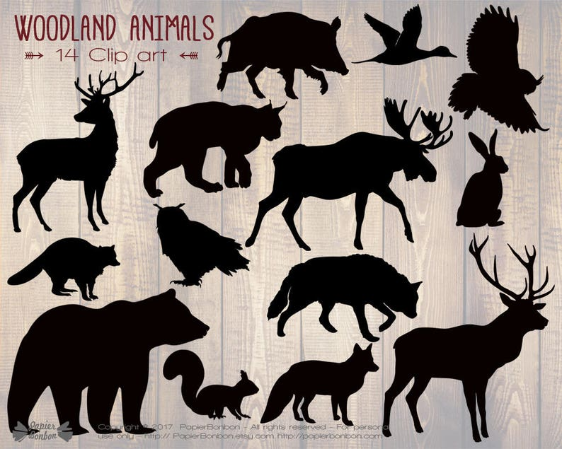 Woodland animals silhouettes clip art 14 woodland clip image 0