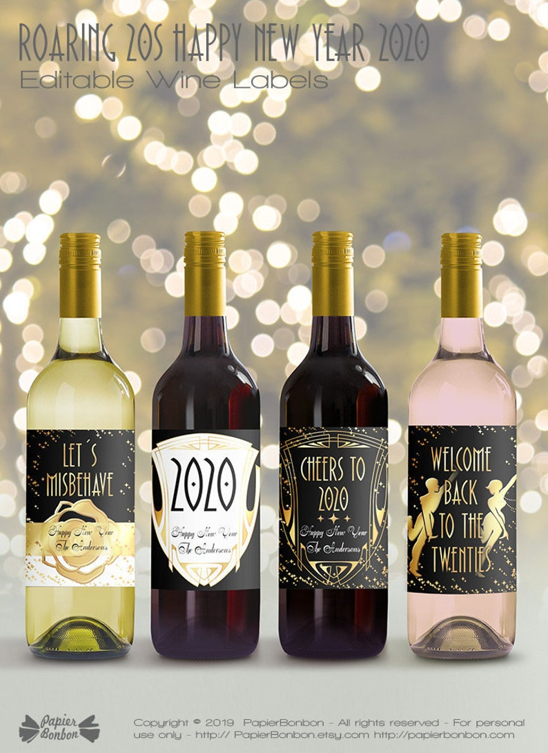 New year Editable Wine Bottle Labels for 2020 printable image 0